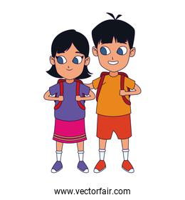 cartoon woman and man standing icon