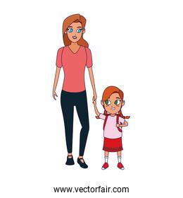 Happy woman with little girl standing icon