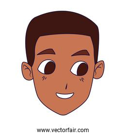 cartoon boy face smiling icon, colorful and flat design