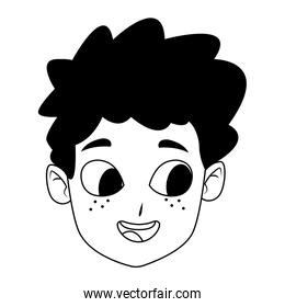 Happy boy smiling face icon over white background