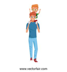 man carrying his son in his arms, colorful design