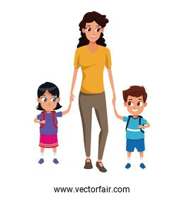 Cartoon woman with little kids icon, colorful design