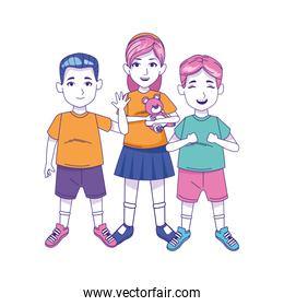 little boys and girl standing icon, colorful design