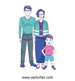 man, old woman and boy standing
