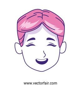 boy face laughing icon, flat design