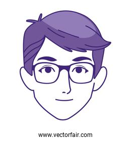 cartoon man with glasses icon, colorful design