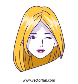 cartoon woman with blonde hair, flat design