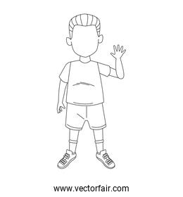 boy standing waving icon, flat design