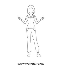 woman standing with arms open, flat design