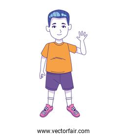 boy standing waving icon, colorful design