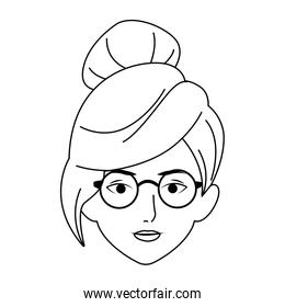 cool woman with glasses icon, flat design