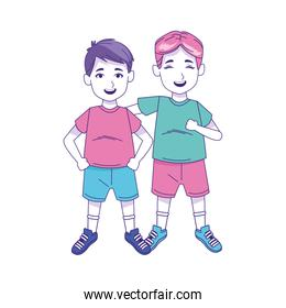 little boys standing icon, colorful design