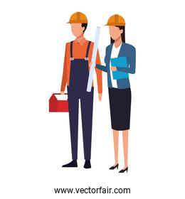 builder man and engineer woman standing