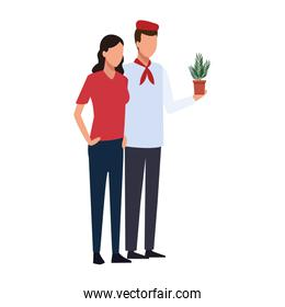 avatar chef man and woman with plant pot, colorful design