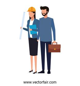 avatar man and engineer woman standing
