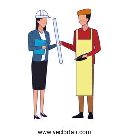 engineer woman and artist man standing, colorful design