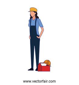 construction builder woman standing, colorful design