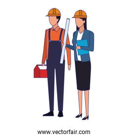 builder man and engineer woman standing, colorful design