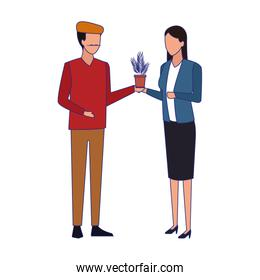 artist man and businesswoman standing, colorful design