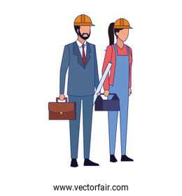 engineer and builder woman standing, colorful design