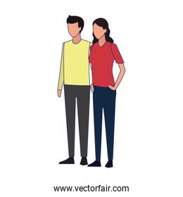avatar couple standing, colorful design