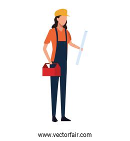builder woman with toolsbox icon, colorful design