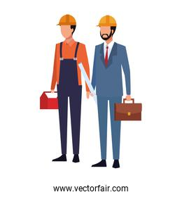 builder man and engineer man standing