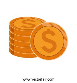 stack of money coins icon, colorful design