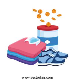 men shirts, donation tin and sport shoes