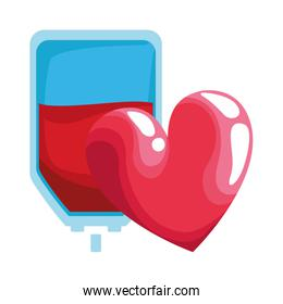 blood bag and heart icon, colorful design