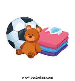 soccer ball, bear and shirts stack, colorful design