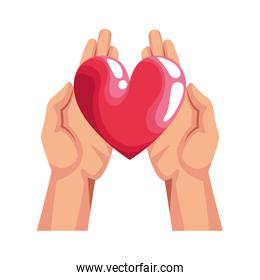 hands with heart icon, colorful design