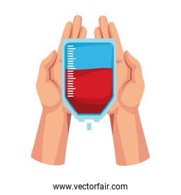 hands with blood bag icon, colorful design
