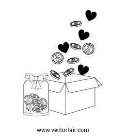box with money coins, hearts and bottle with coins, flat design