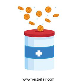donation tin with money coins, colorful design