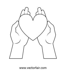 hands with heart line style icon