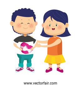 cartoon girl and boy with chocolate box, colorful design