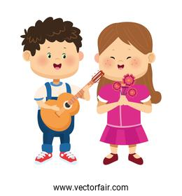 cute boy with guitar and girl with flowers