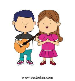 cute boy and girl standing with guitar