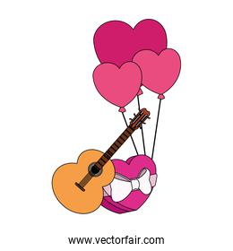guitar, hearts balloons and chocolate box, colorful design