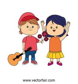 cartoon boy with guitar giving flowers a happy girl