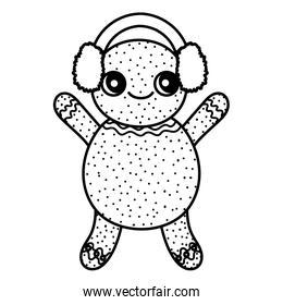 gingerbread man with ear muffs decoration merry christmas icon thick line