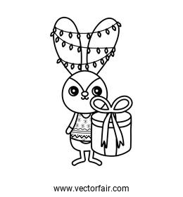 rabbit with lights tangled in the ears merry christmas thick line