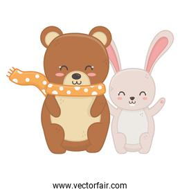 bear with scarf and rabbit hello autumn