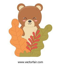 cute bear in the forest foliage hello autumn