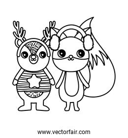 cute bear and fox with ear muffs merry christmas thick line
