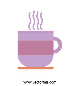 hot coffee cup on dish beverage icon