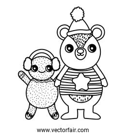cute bear and gingerbread man with hat merry christmas thick line