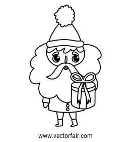 santa claus holding gift box merry christmas thick line