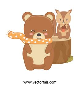 bear and squirrel animal forest hello autumn icon